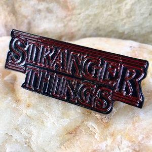 STRANGER THINGS enamel red & black logo pin